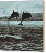 Dolphin Pair-in The Air Wood Print