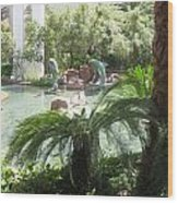 Dolphin Pond And Garden Green Wood Print