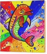 Dolphin Pop Art  Wood Print