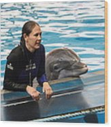 Dolphin Show - National Aquarium In Baltimore Md - 1212230 Wood Print