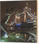 Dolphin Statue Tower Bridge Wood Print by Donald Davis