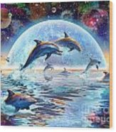 Dolphins By Moonlight Wood Print by Adrian Chesterman