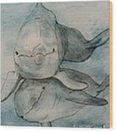 Dolphins Duo Underwater Art Cathy Peek Wood Print