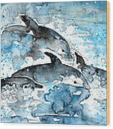 Dolphins In Gran Canaria Wood Print