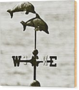 Dolphins Weathervane In Sepia Wood Print by Ben and Raisa Gertsberg