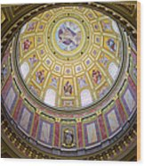 Dome Interior Of The St Stephen Basilica In Budapest Wood Print