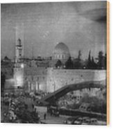 Dome Of The Rock -- Black And White Wood Print