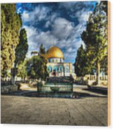 Dome Of The Rock Hdr Wood Print by David Morefield