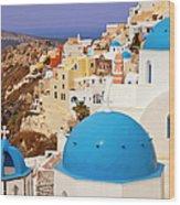 Domes Of Santorini Wood Print