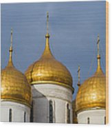 Domes Of The Dormition Cathedral Of Moscow Kremlin - Square Wood Print