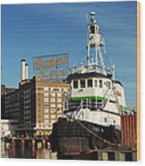 Domino Sugars Baltimore With A Boat Wood Print