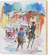 Don Quijote And Sancho Panza Entering Toledo Wood Print