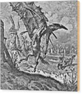 Don Quixote Attacks The Windmill Engraving Wood Print