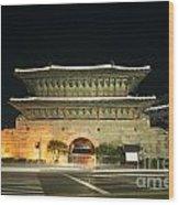 Dongdaemun Gate Landmark In Seoul South Korea Wood Print
