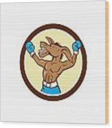 Donkey Boxing Celebrate Circle Cartoon Wood Print