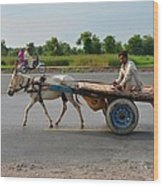 Donkey Cart Driver And Motorcycle On Pakistan Highway Wood Print
