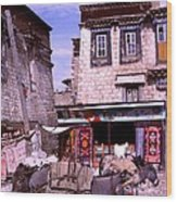 Donkeys In Jokhang Bazaar Wood Print