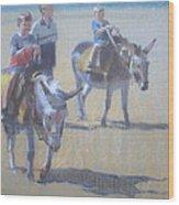 Donkeys At Borth Beach Wood Print