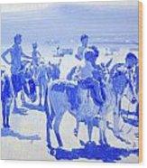 Donkey's On The Beach Wood Print