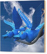 Donna's 1st Blue Bird Flight Wood Print