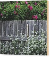 Don't Fence Me In - Wild Roses - Old Fence Wood Print
