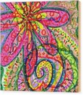 Doodle Flowers Wood Print
