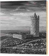 Doonagore Castle Black And White Wood Print