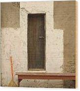 Door And Broomstick Wood Print by Micah May