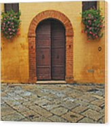 Door And Flowers In A Tuscan Courtyard Wood Print