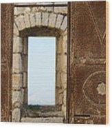 Door And Window Of The Old World Wood Print