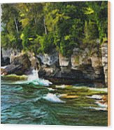 Door County Cave Point Cliffs Wood Print