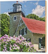 Door County Eagle Bluff Lighthouse Lilacs Wood Print by Christopher Arndt