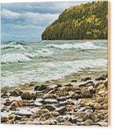Door County Porcupine Bay Waves Wood Print