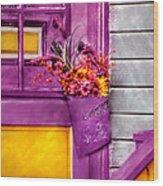 Door - Lavender Wood Print by Mike Savad