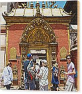 Doorway In Bhaktapur Durbar Square In Bhaktapur-nepal Wood Print