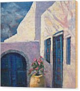 Doorway_greece Wood Print