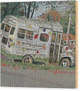 Doodlebugs Bus Wood Print
