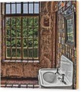 Dorm Bathroom Side View Wood Print