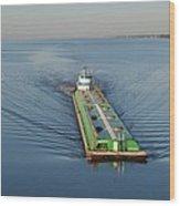 Double Barge On Calm Santa Rosa Sound From Navarre Bridge At Sunrise Wood Print
