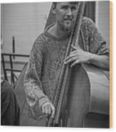 Double Bass Player Wood Print by David Morefield