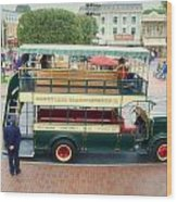 Double Decker Bus Main Street Disneyland 02 Wood Print