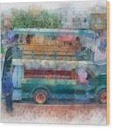 Double Decker Bus Main Street Disneyland Photo Art 01 Wood Print