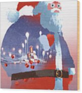 Double Exposure Of Santa Claus And Wood Print