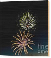 Double Fireworks Blast Wood Print by Robert Bales