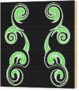 Double Green Swirl Wood Print