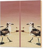 Double Gulls Collage Wood Print