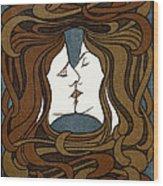 Double Medusa Illustration Panel Wood Print