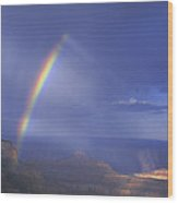 Double Rainbow At Cape Royal Grand Canyon National Park Wood Print