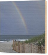 Double Rainbow Beach Seaside Park Nj Wood Print