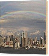 Double Rainbow Over Nyc Wood Print